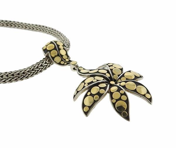 John Hardy 18K Gold Sterling Dot Pendant Necklace - 3