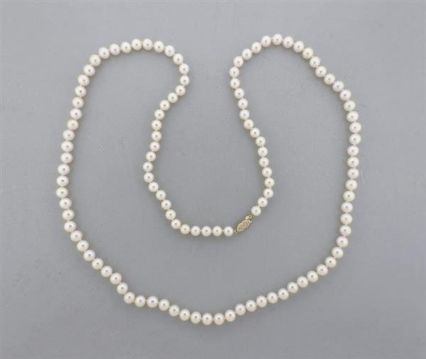 14K Gold 7-7.5mm Pearl Necklace