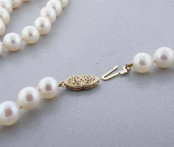 14K Gold 7-7.5mm Pearl Necklace - 4