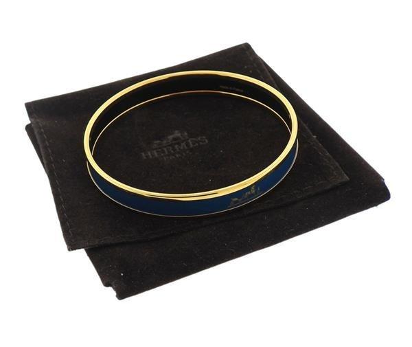 Hermes Signature Blue Enamel Bangle Bracelet - 3