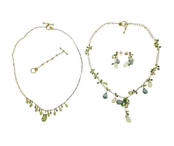 Laura Gibson 22K Gold Multi Gemstone Necklace Earrings