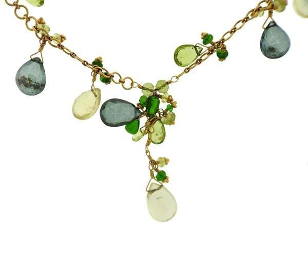 Laura Gibson 22K Gold Multi Gemstone Necklace Earrings - 2