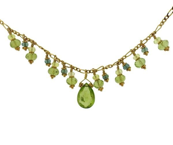 Laura Gibson 22K Gold Multi Gemstone Necklace Earrings - 3