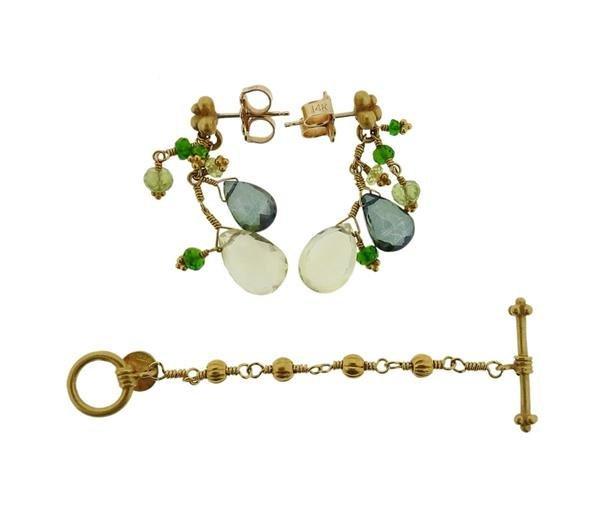 Laura Gibson 22K Gold Multi Gemstone Necklace Earrings - 4