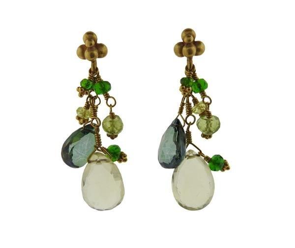 Laura Gibson 22K Gold Multi Gemstone Necklace Earrings - 5