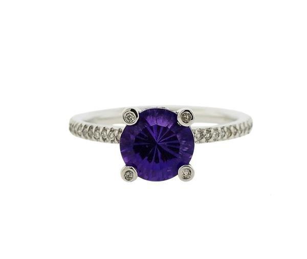 14K Gold Purple Stone Diamond Ring