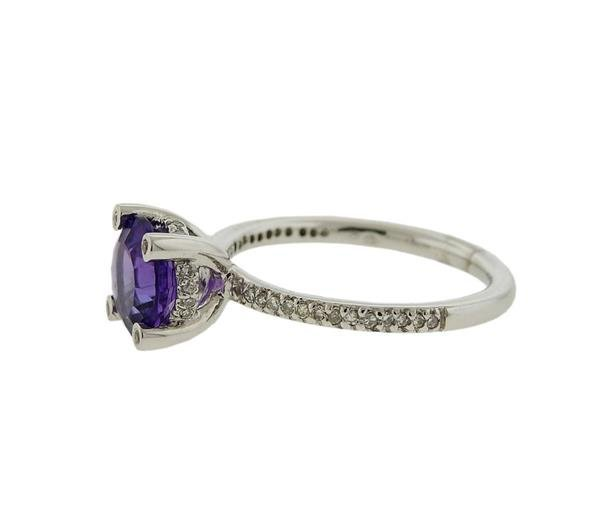 14K Gold Purple Stone Diamond Ring - 2
