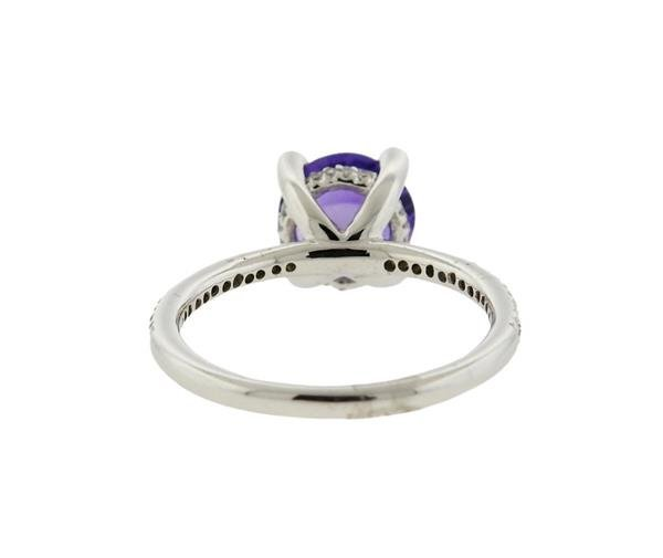 14K Gold Purple Stone Diamond Ring - 3