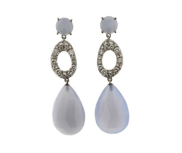 Vasari 18K Gold Diamond Chalcedony Dangle Earrings