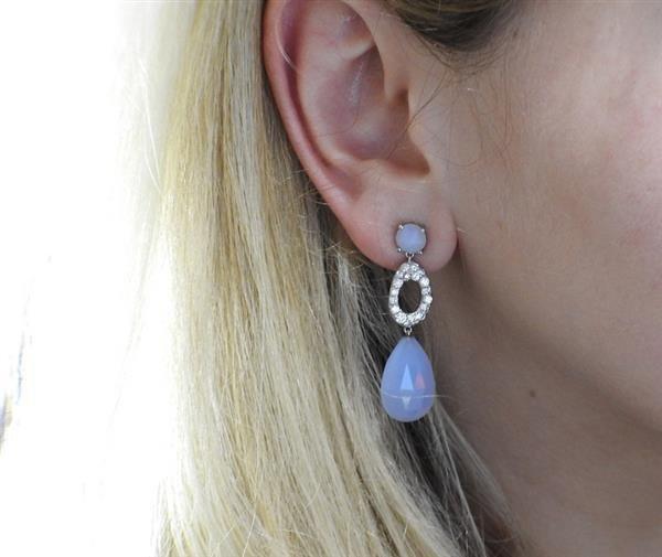 Vasari 18K Gold Diamond Chalcedony Dangle Earrings - 2