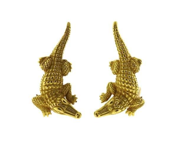 Barry Kieselstein Cord 18K Gold Alligator Earrings