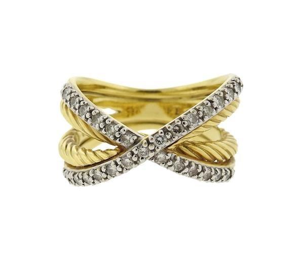David Yurman 18K Gold Diamond Crossover Ring