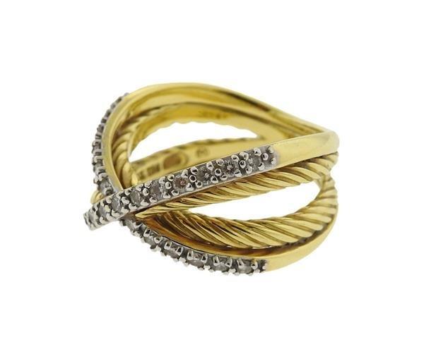 David Yurman 18K Gold Diamond Crossover Ring - 2