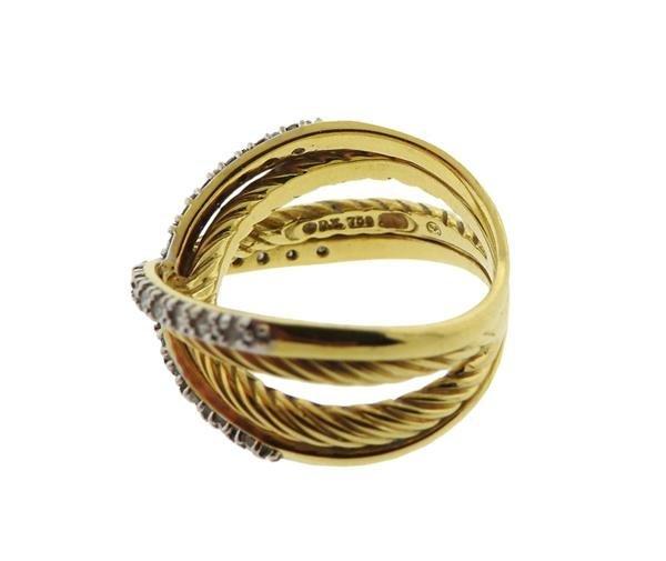 David Yurman 18K Gold Diamond Crossover Ring - 3