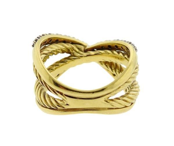 David Yurman 18K Gold Diamond Crossover Ring - 4