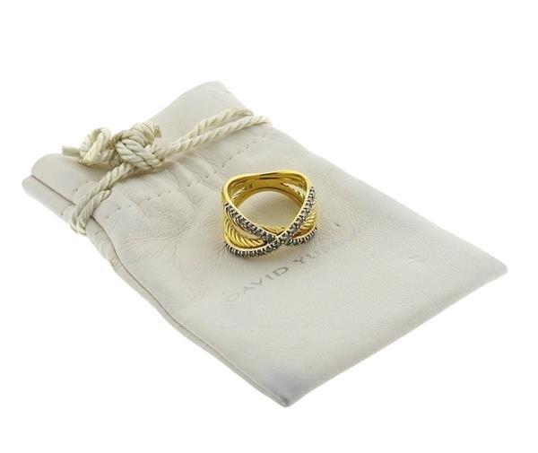 David Yurman 18K Gold Diamond Crossover Ring - 5