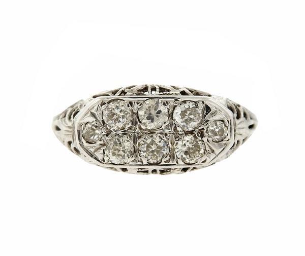Art Deco Filigree 14K Gold Diamond Ring
