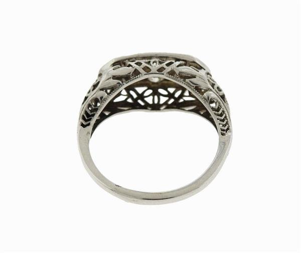 Art Deco Filigree 14K Gold Diamond Ring - 3