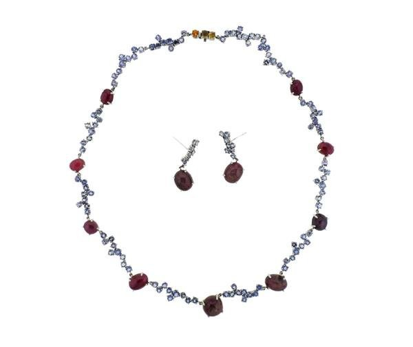 Kanaris Sterling Silver Tanzanite Star Ruby Necklace