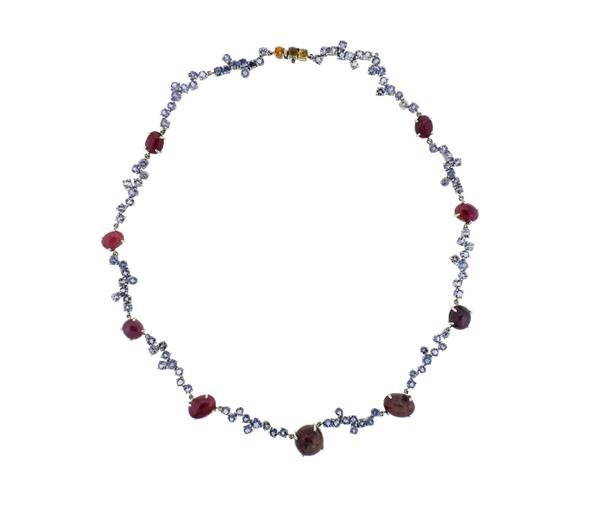 Kanaris Sterling Silver Tanzanite Star Ruby Necklace - 2