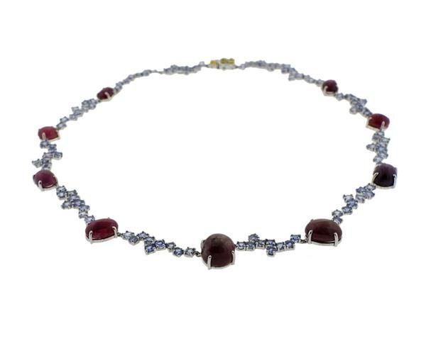 Kanaris Sterling Silver Tanzanite Star Ruby Necklace - 3