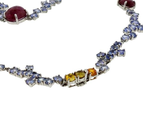 Kanaris Sterling Silver Tanzanite Star Ruby Necklace - 4
