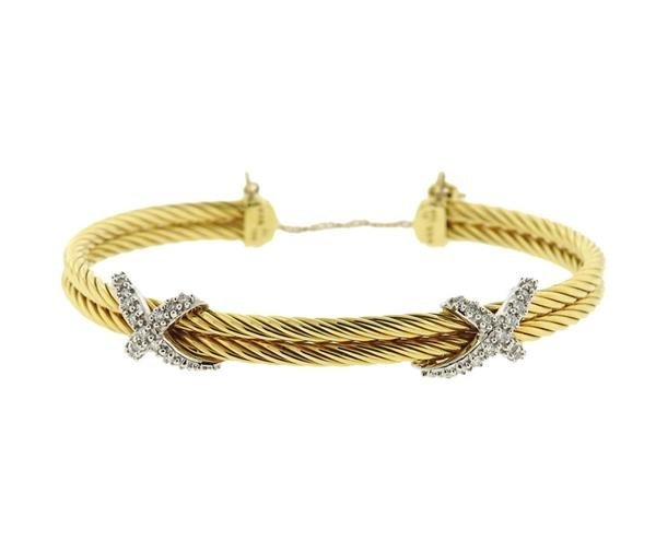 David Yurman 18K Gold Diamond X Cuff Bracelet