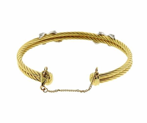 David Yurman 18K Gold Diamond X Cuff Bracelet - 2
