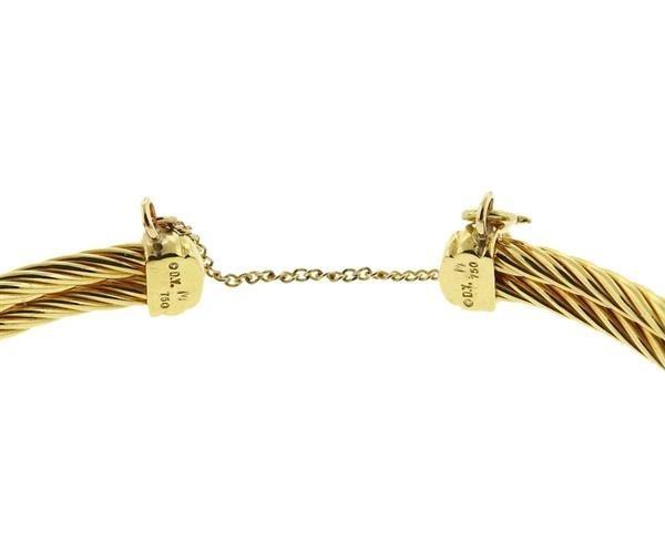 David Yurman 18K Gold Diamond X Cuff Bracelet - 3