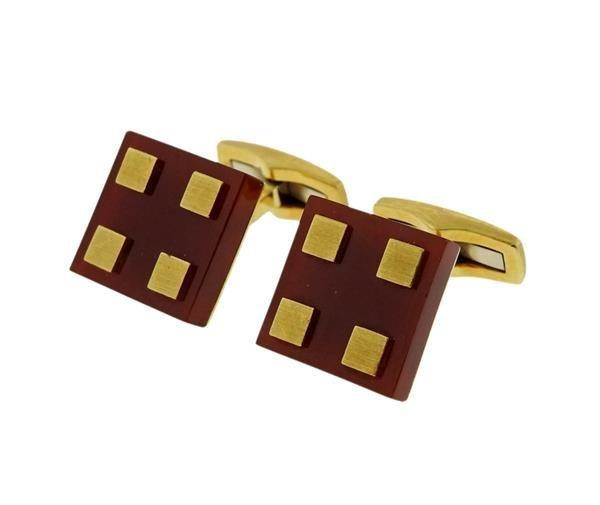 18K Gold Carnelian Square Cufflinks