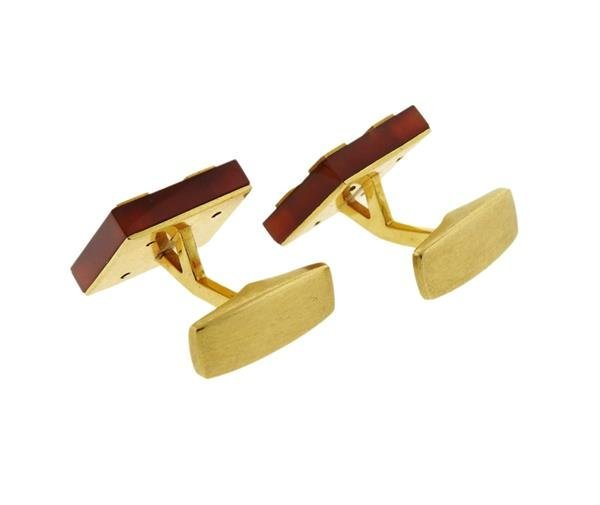 18K Gold Carnelian Square Cufflinks - 2