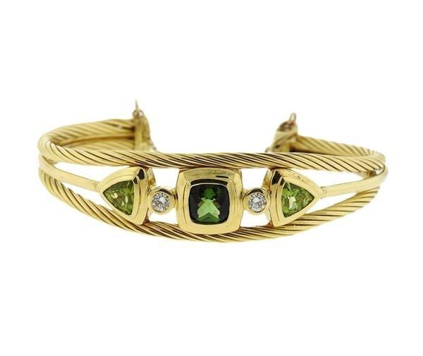 David Yurman 18K Gold Diamond Green Gemstones Cuff