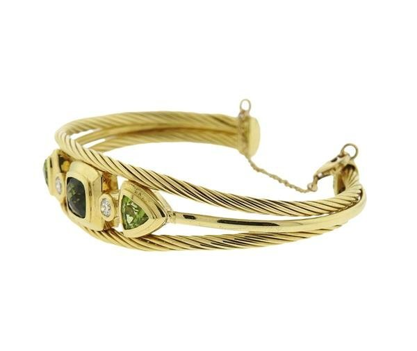 David Yurman 18K Gold Diamond Green Gemstones Cuff - 2