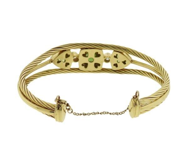 David Yurman 18K Gold Diamond Green Gemstones Cuff - 3