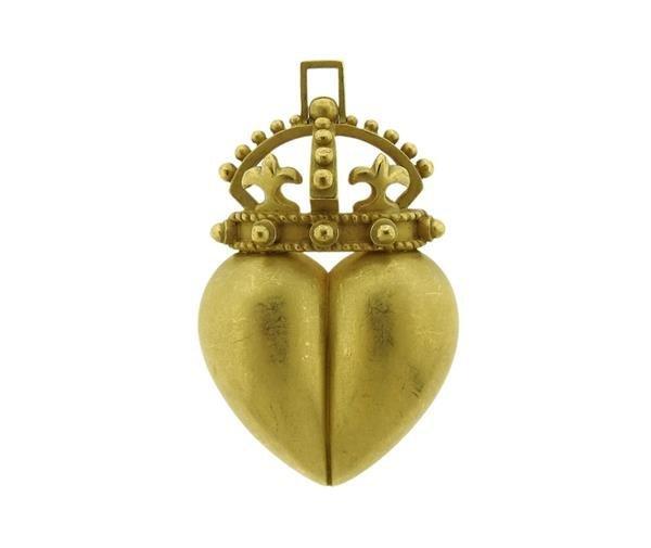 Kieselstein Cord 18K Gold Crown Heart Pendant Brooch