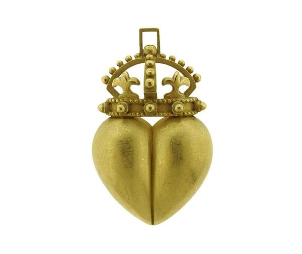 Kieselstein Cord 18K Gold Crown Heart Pendant Brooch