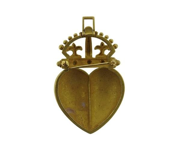 Kieselstein Cord 18K Gold Crown Heart Pendant Brooch - 3