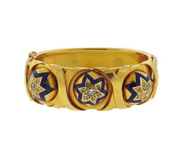 Antique 18K Gold Diamond Enamel Bangle Bracelet