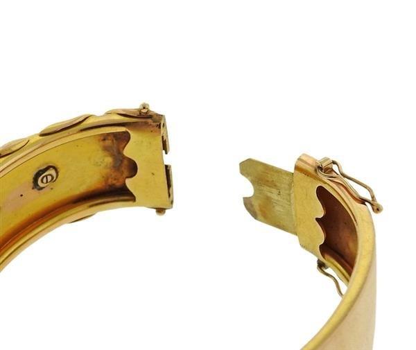 Antique 18K Gold Diamond Enamel Bangle Bracelet - 2