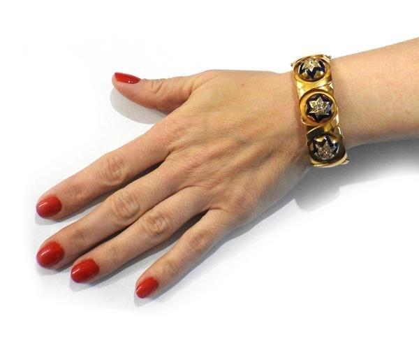 Antique 18K Gold Diamond Enamel Bangle Bracelet - 4