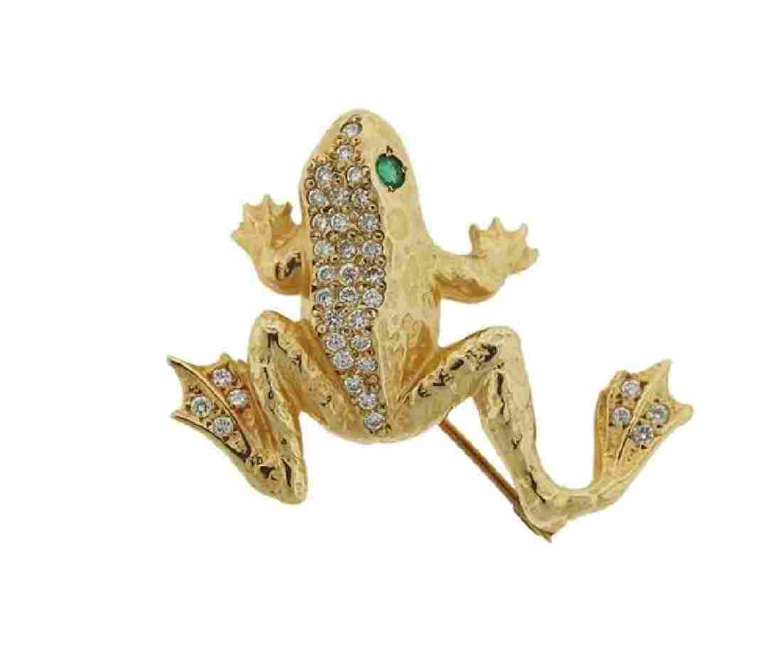 14K Gold Diamond Emerald Frog Brooch Pin