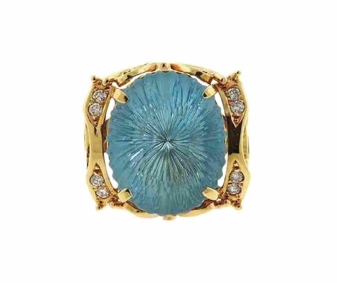 18K Gold Blue Stone Diamond Cocktail Ring