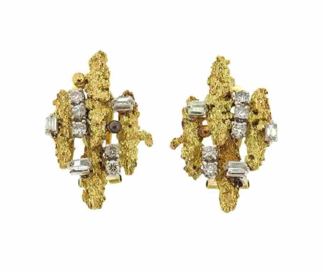 14K Gold Diamond Free Form Earrings