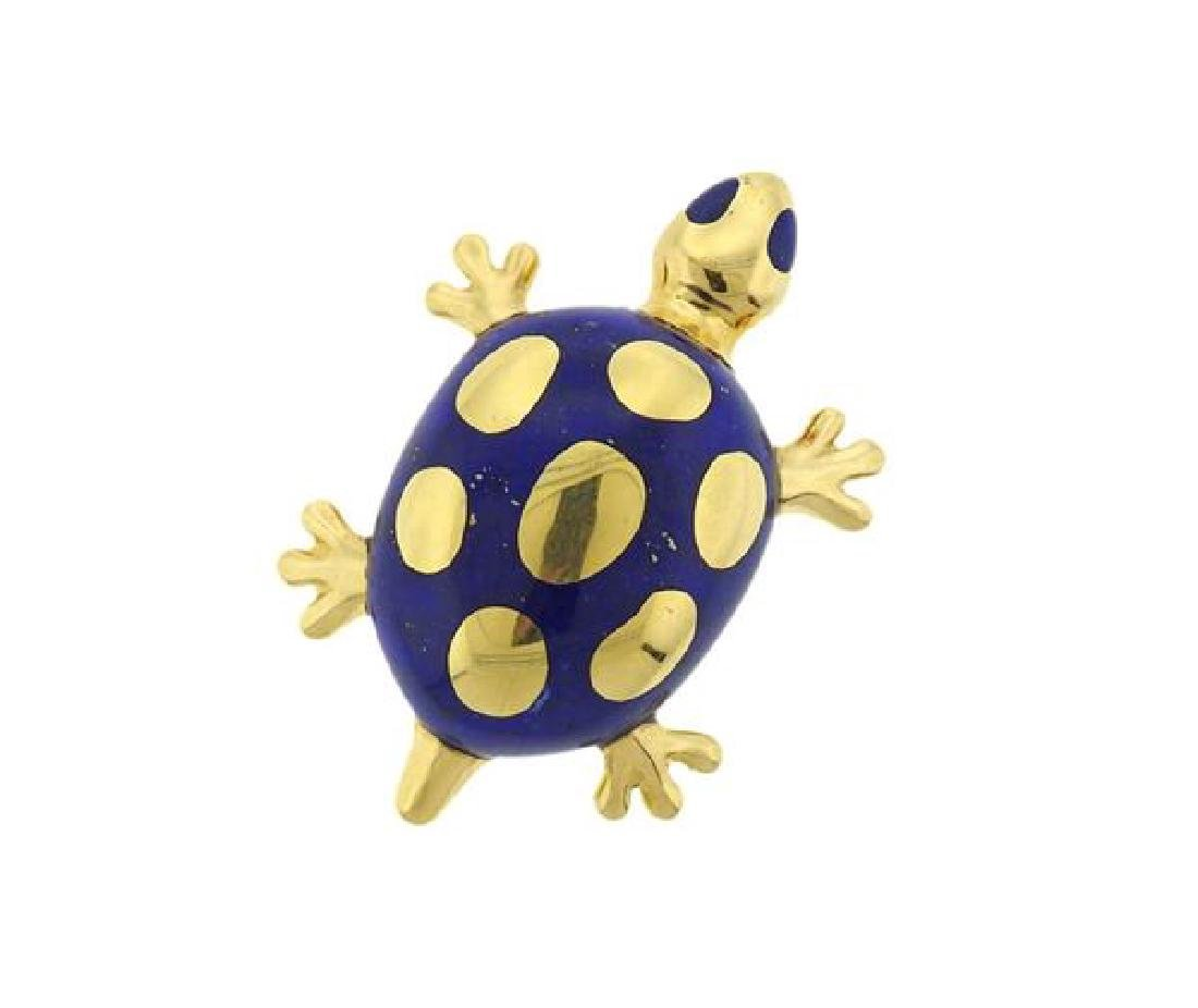 Tiffany & Co. 18K Gold Lapis Turtle Brooch Pin