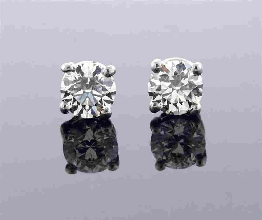 Tiffany & Co Platinum 1.05ctw Diamond Stud Earrings