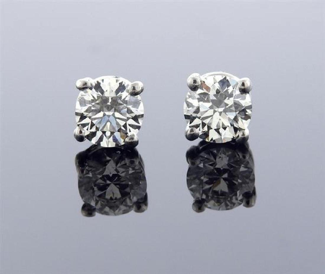 Tiffany & Co Platinum 1.05ctw Diamond Stud Earrings