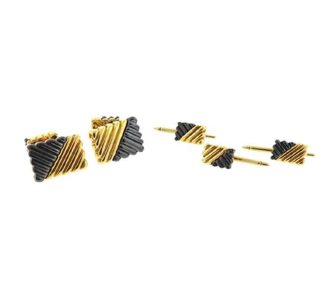 Andrew Clunn 18K Gold Hematite Cufflink Dress Set