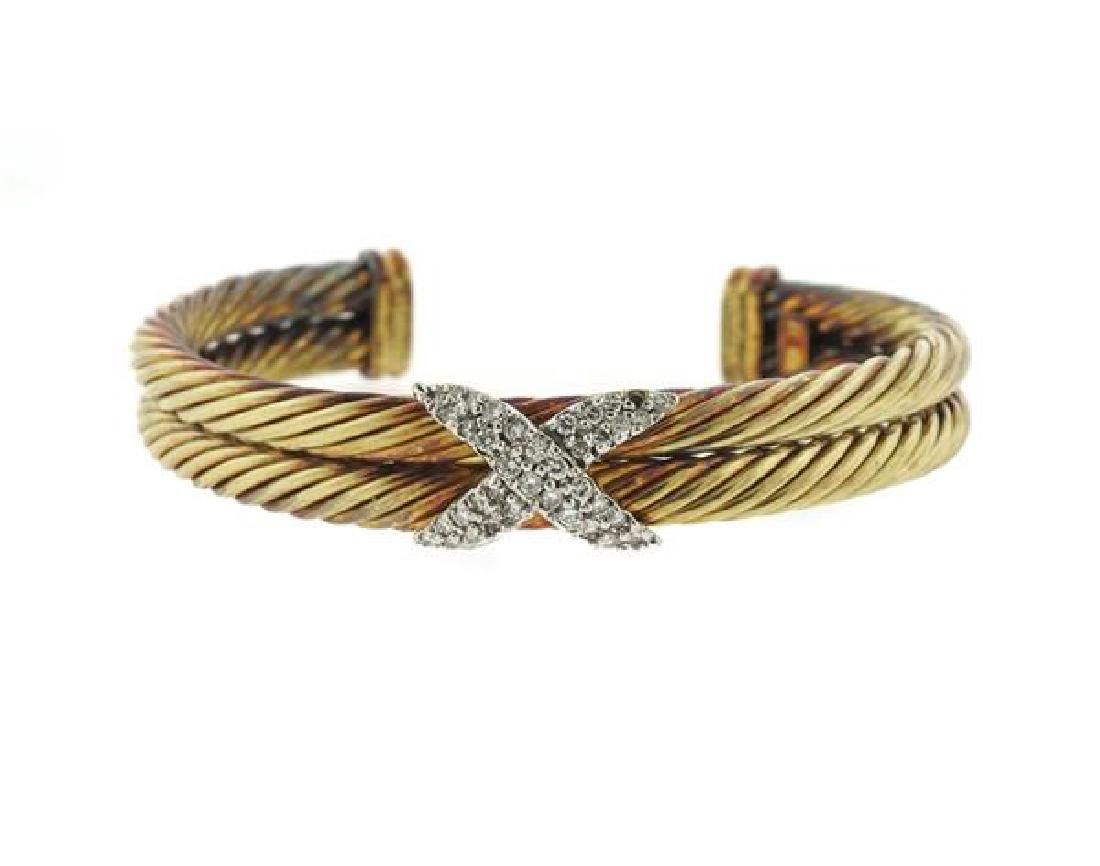 David Yurman 14K Gold Diamond X Cable Cuff Bracelet