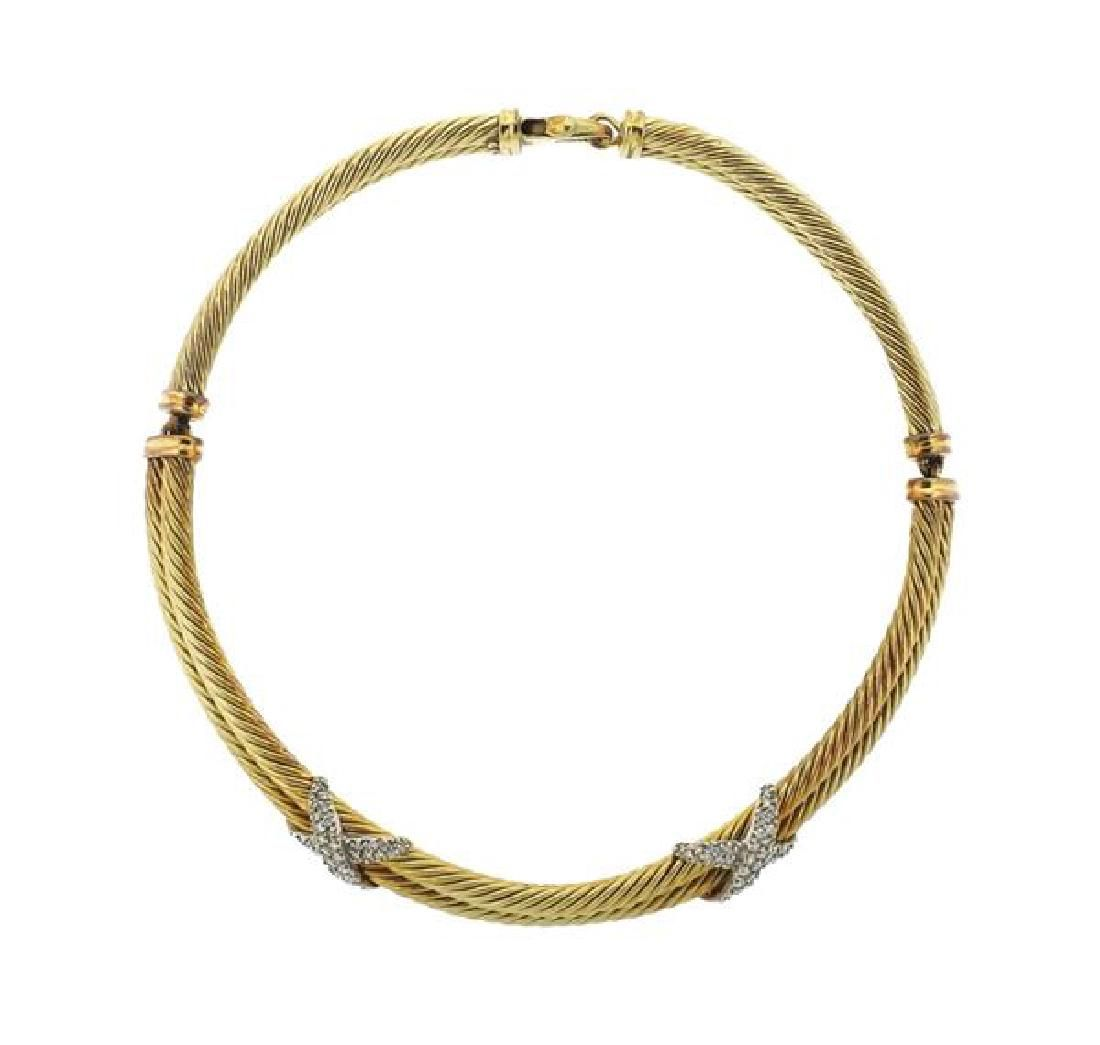 David Yurman 14K Gold Diamond Double X Cable Necklace