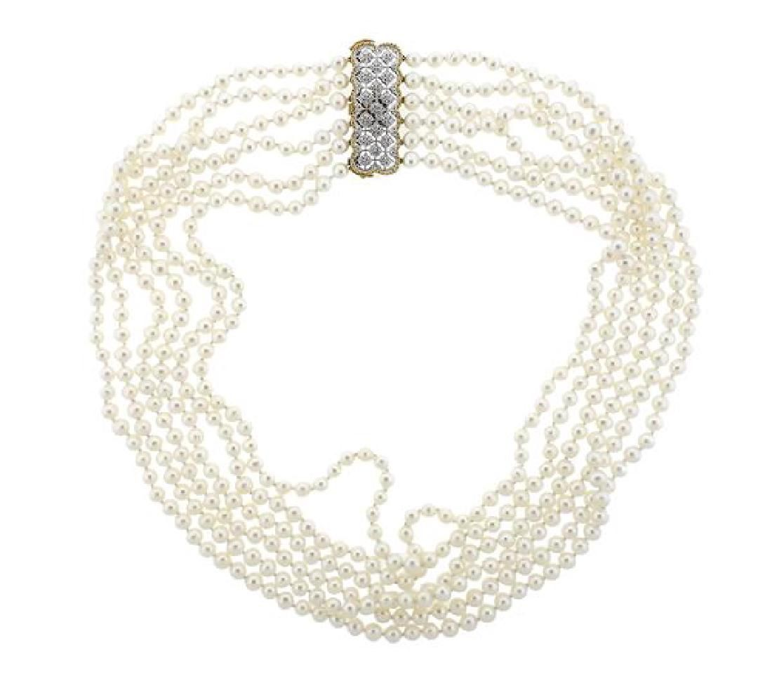 Mario Buccellati 18K Gold Six Strand Pearl Necklace